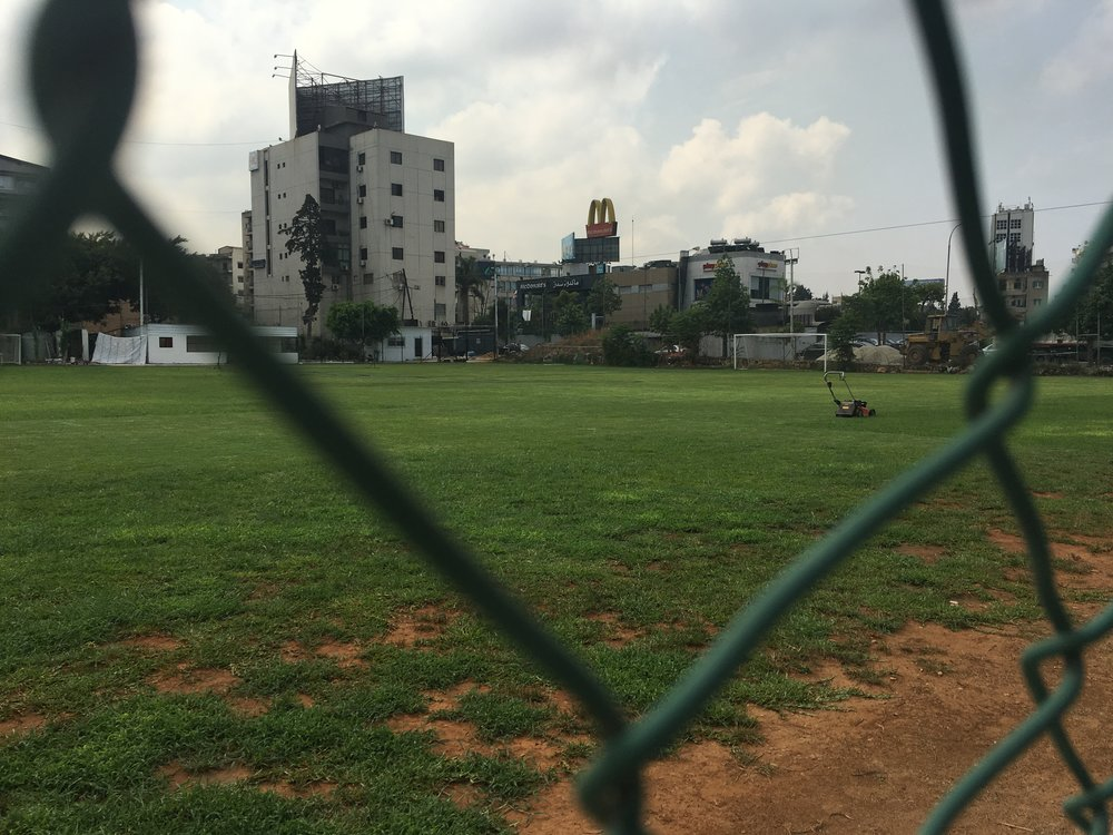 Pitches with no lines and nets left to rot. Photo by Justin Salhani.