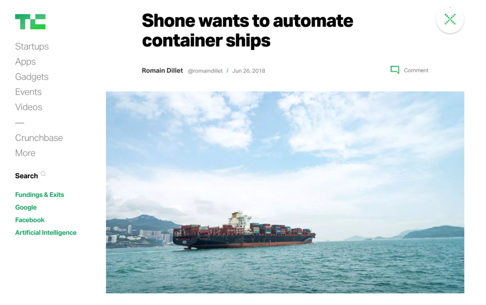 Related:  TechCrunch: Shone wants to automate container ships