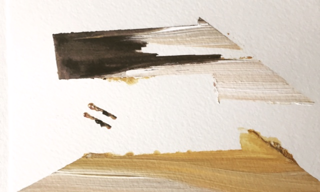 5 x 7 on paper   2 sad birds   SOLD