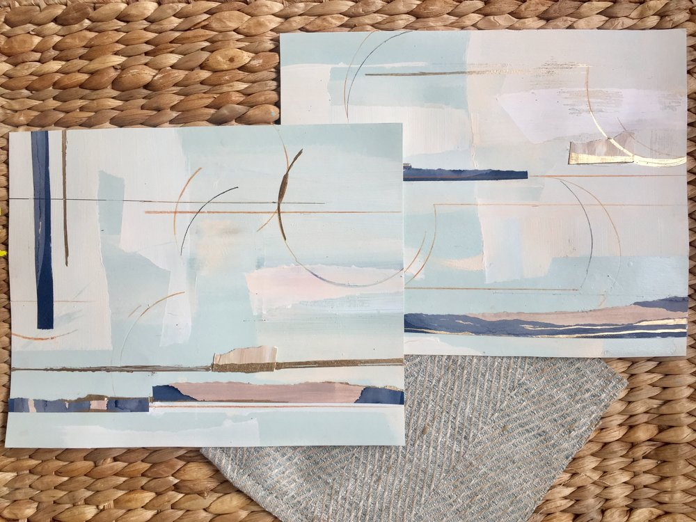 8 x 10 mixed media on canvas to complement this fabric swatch for a client. Some of my favorite little works right now.
