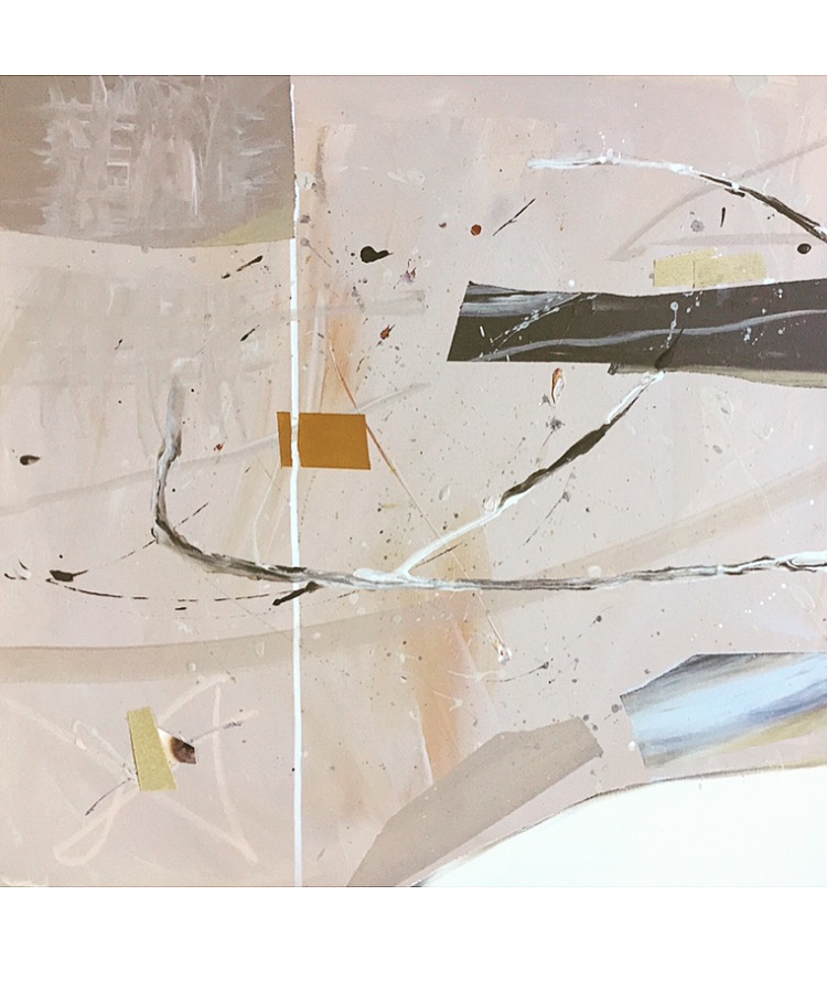 'don't use the sandpaper or cut or copy'   24 x 24 on canvas   acrylic, spray, India ink, sandpaper, oil pastel