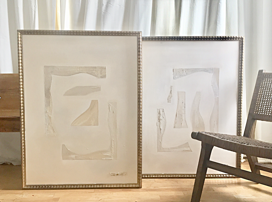 30 x 40 pair mixed media on canvas framed, available at Serena and Lily, Dallas