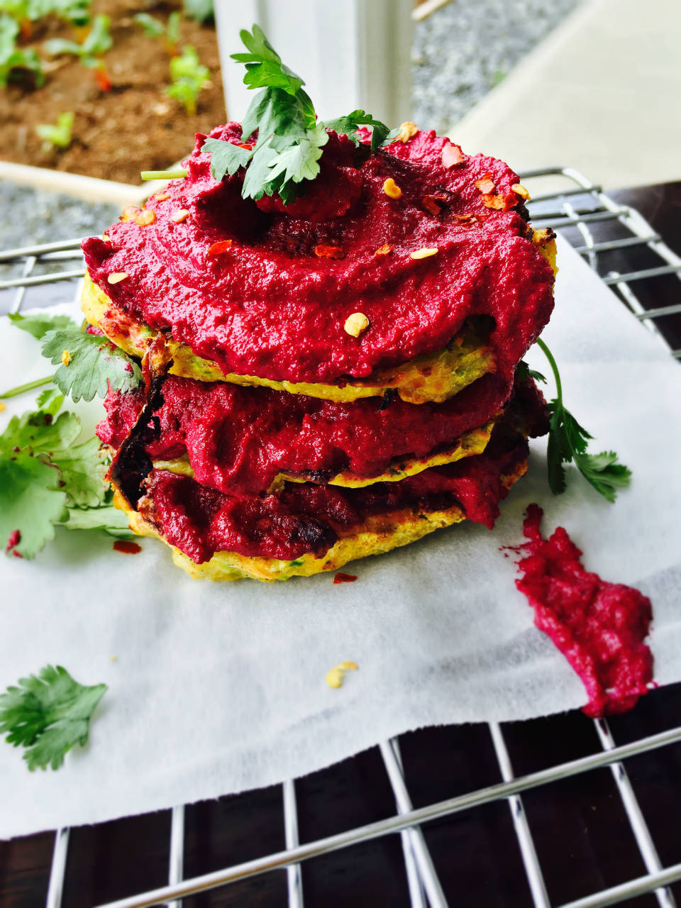 zucchini-fritters-with-beet-hummus