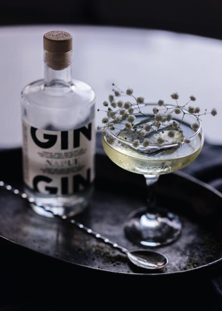 Meadowsweet; Napue finnish gin stirred with meadowsweet petal tincture, blanc vermouth and meadowsweet infused Lillet Blanc.