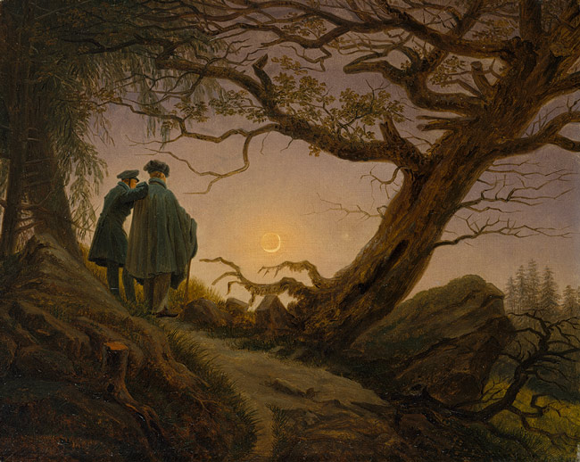 Caspar David Friedrich,  Two Men Contemplating the Moon  c. 1825 – 30, oil on canvas, 34.9 x 43.8 cm. Source: The Metropolitan Museum of Art, catalogue number 2000.51.