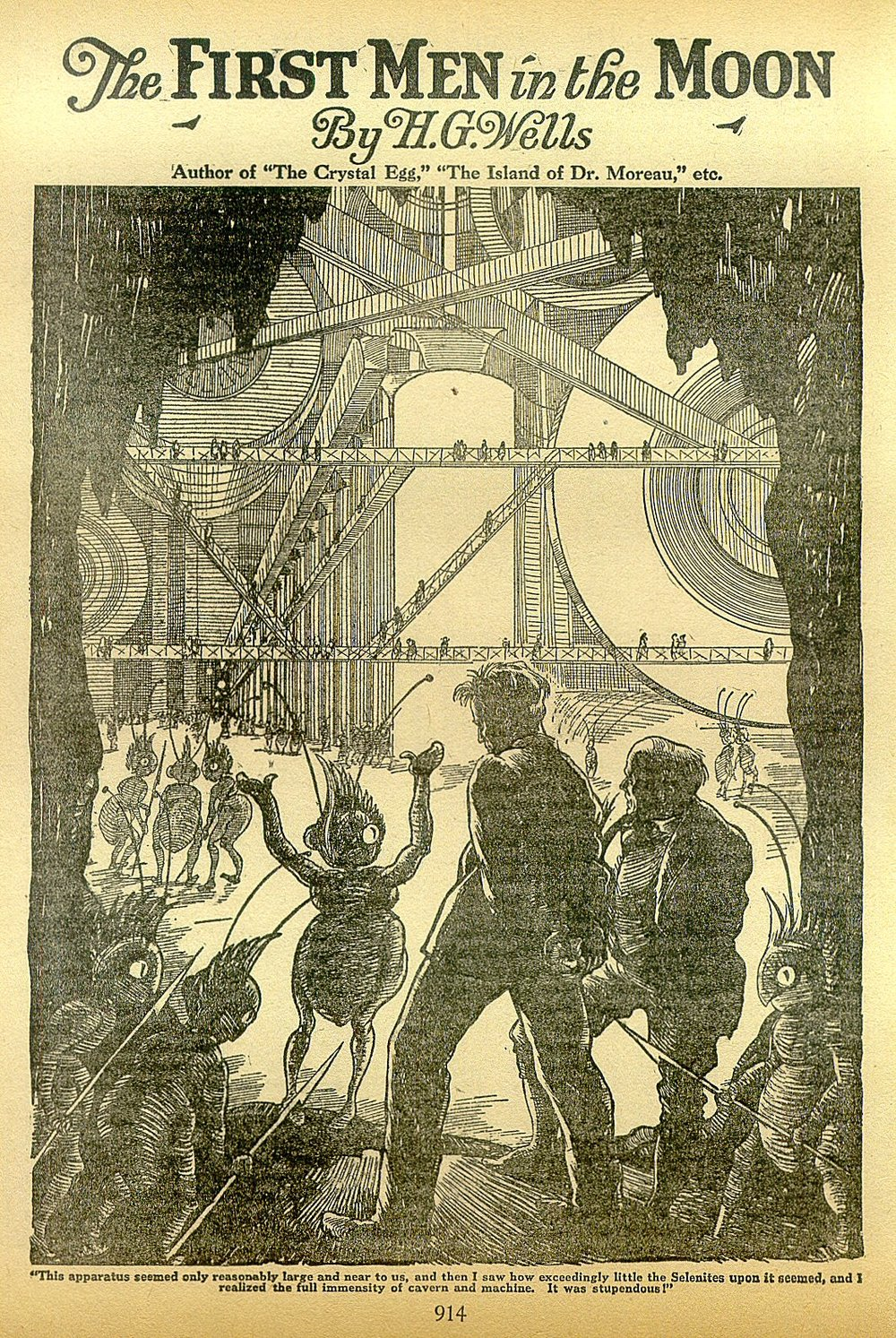 'Cavor and Bedford escorted to the interior of the Moon by Selenites', illustration from a reprint of H. G. Wells'  First Men in the Moon , 1901, in the American periodical  Amazing Stories .