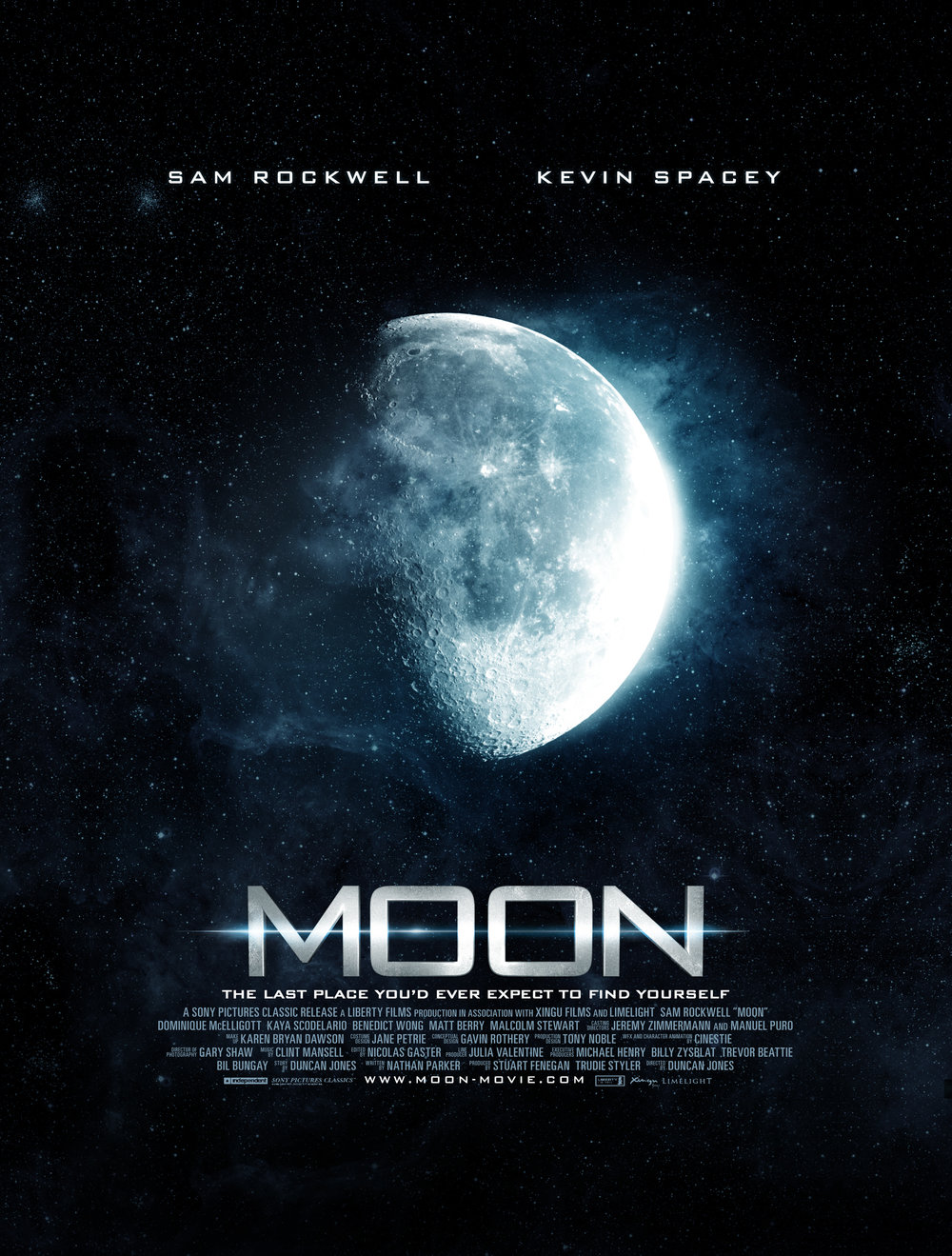 Moon   , 2009, movie poster, dir. Duncan Jones.