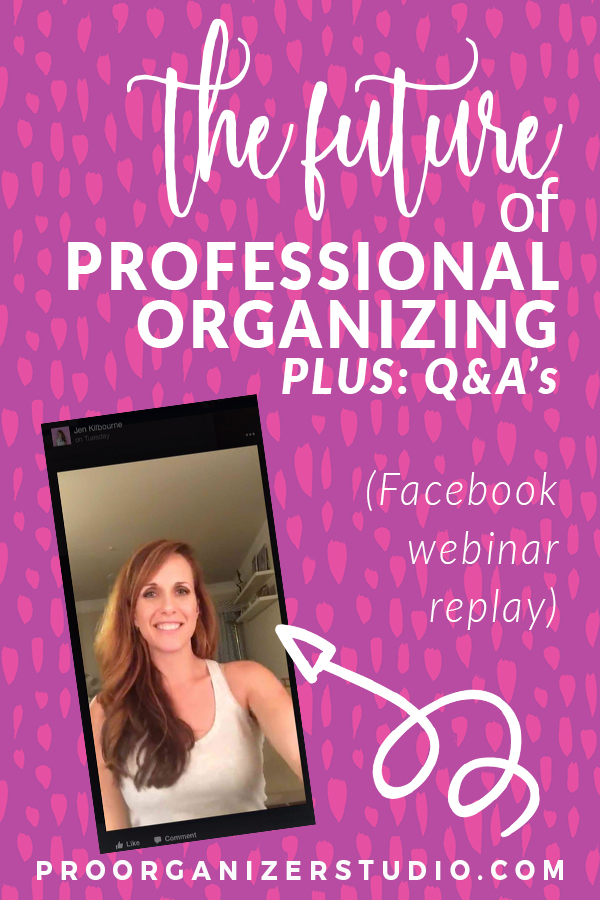 Jen Kilbourne speaks on Election Night in her Facebook group about the future of the professional organizing industry, trends that are here to stay, and lots of answers to questions about running your own organizing business. Join the group so you don't miss the next live broadcast!