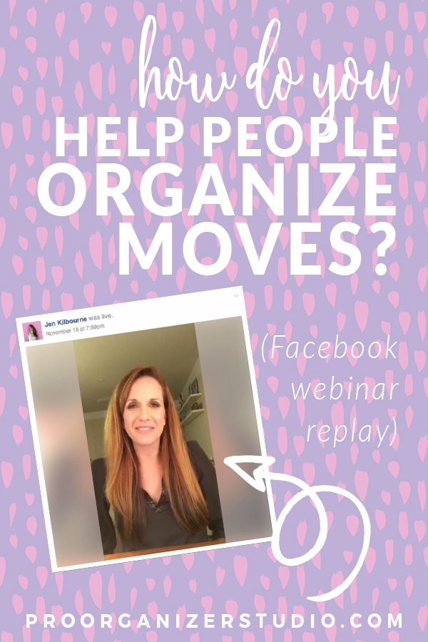 Jen answers a question in the P.O. Studio girls Facebook group about helping clients who are moving and how to package organizing services for them. Check out the answer and a lot of other Q&A!