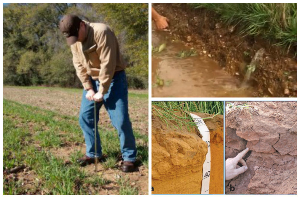Probing, water runoff due to compaction and compaction in different soil types