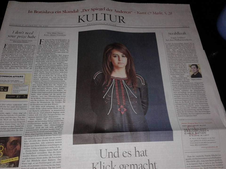 Hiba Obied in the German national newspaper TAGESPIEGEL