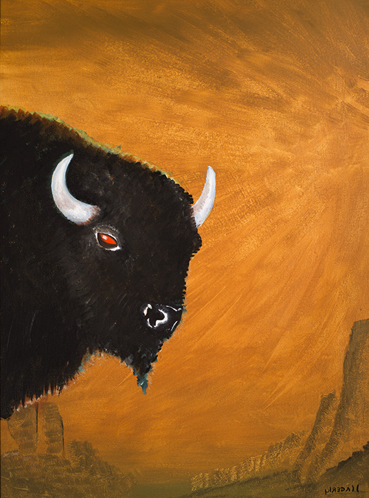 173 Bull Portrait on Ochre 2014 OoC 24x18.jpg