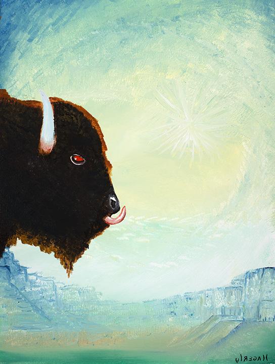 Bull Portait on Aqua