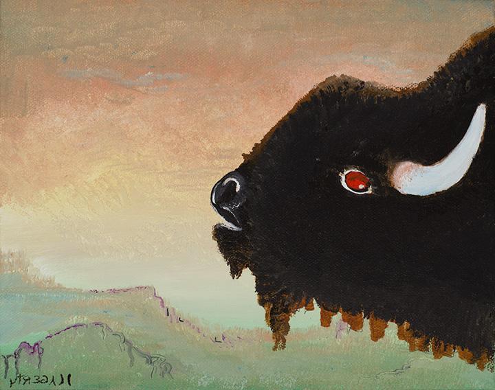 Bull Portrait on Cerulean