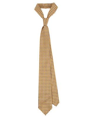 de1a6e52c31f Yellow Floral Print 36oz Foulard Silk Tie ...