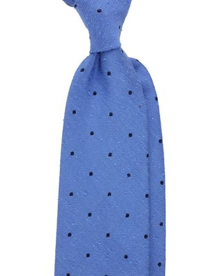 a3dced511018 Light Blue Shantung Silk Tie with Navy Spots ...