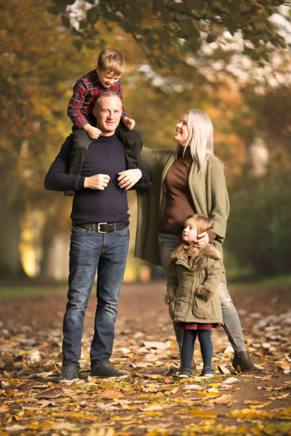 Family autumn portrait at Castle Ashby in Northampton