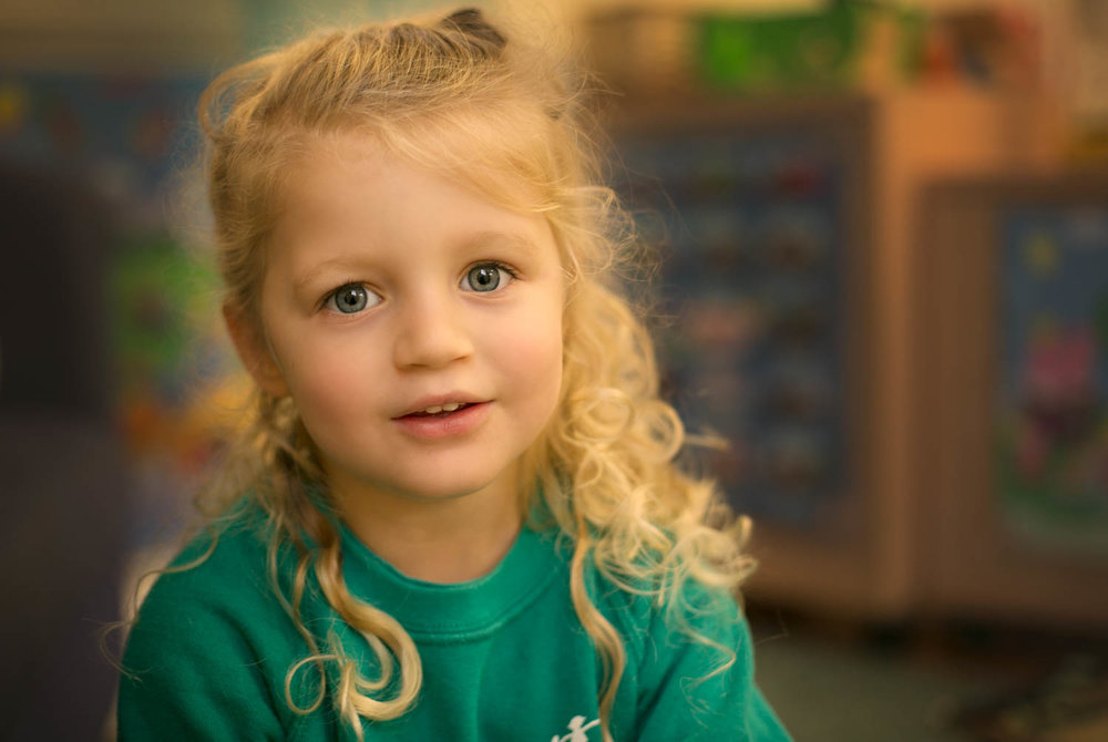 Preschool portrait of a girl during a preschool photography photoshoot in Bedford