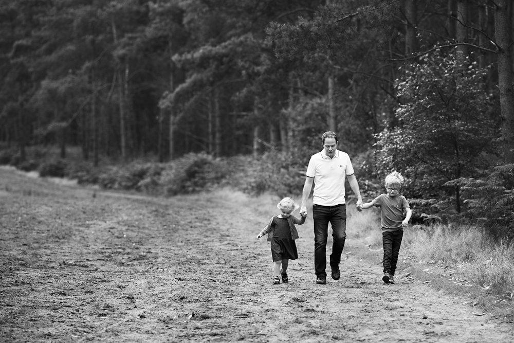Walking in Aspley Heath Woods - Family Portrait Photography