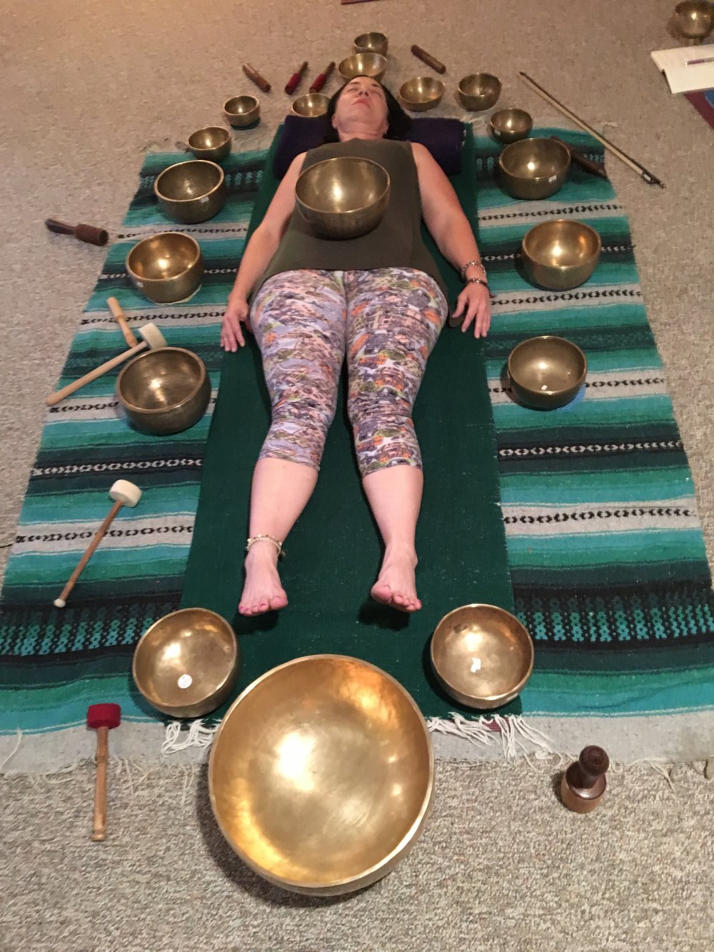 Sound healing session with Tibetan Bowls during workshop at  Yoga4All,  Seminole, FL