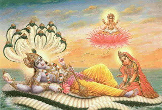The god Narayan, resting on the great snake Ananta after giving birth to Lord Brahma.