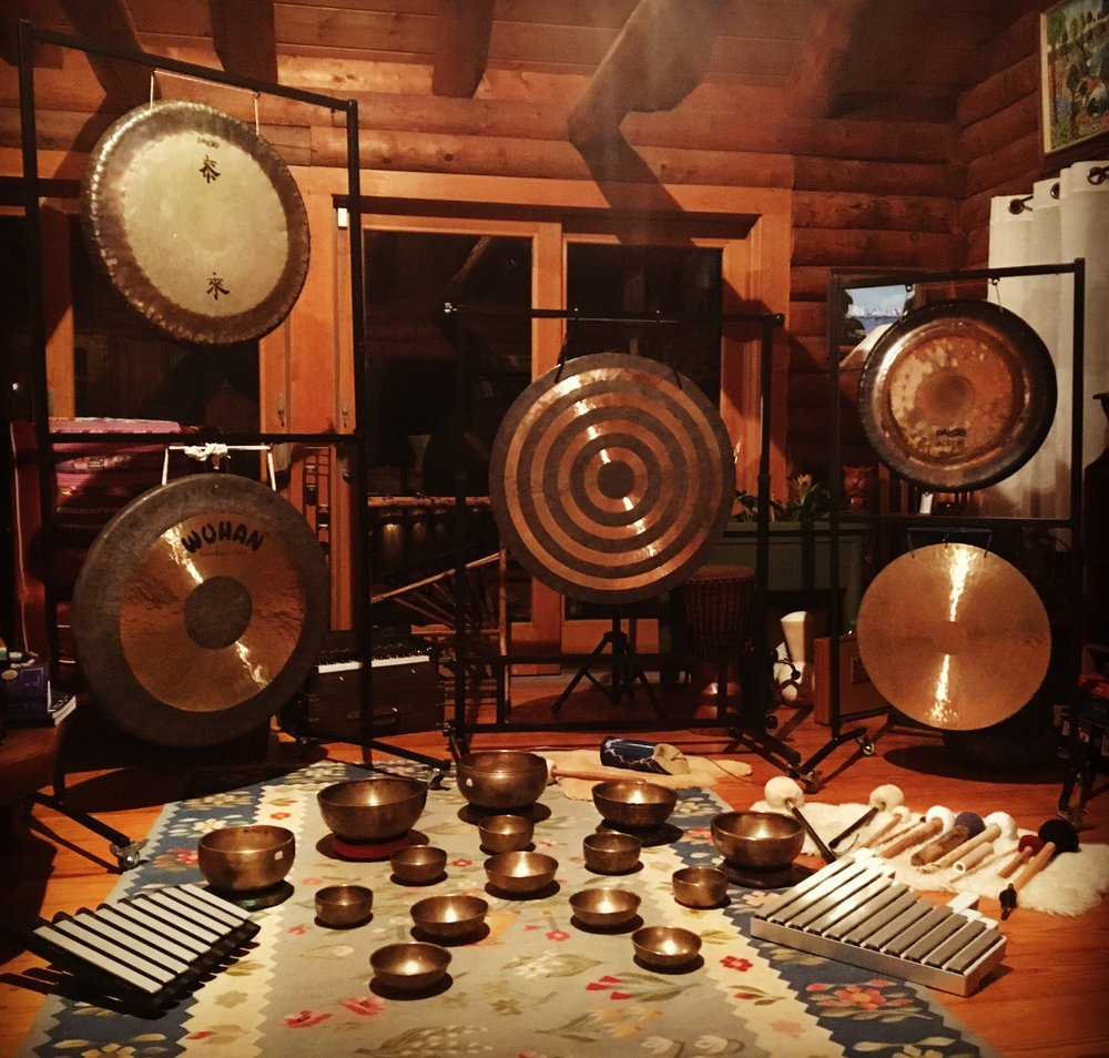 Some of my personal sound healing tools- photo taken in my living room.