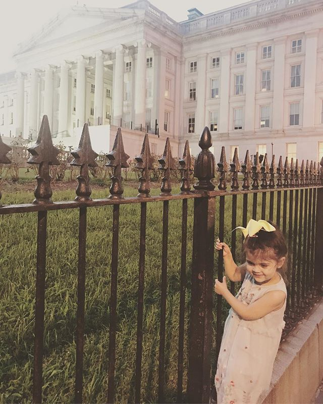 Baby fence jumper!!!! Luckily the secret service let her slide on account of her cuteness. #washingtondcbaby #treasury #showmethemoney #heyjetsetbaby