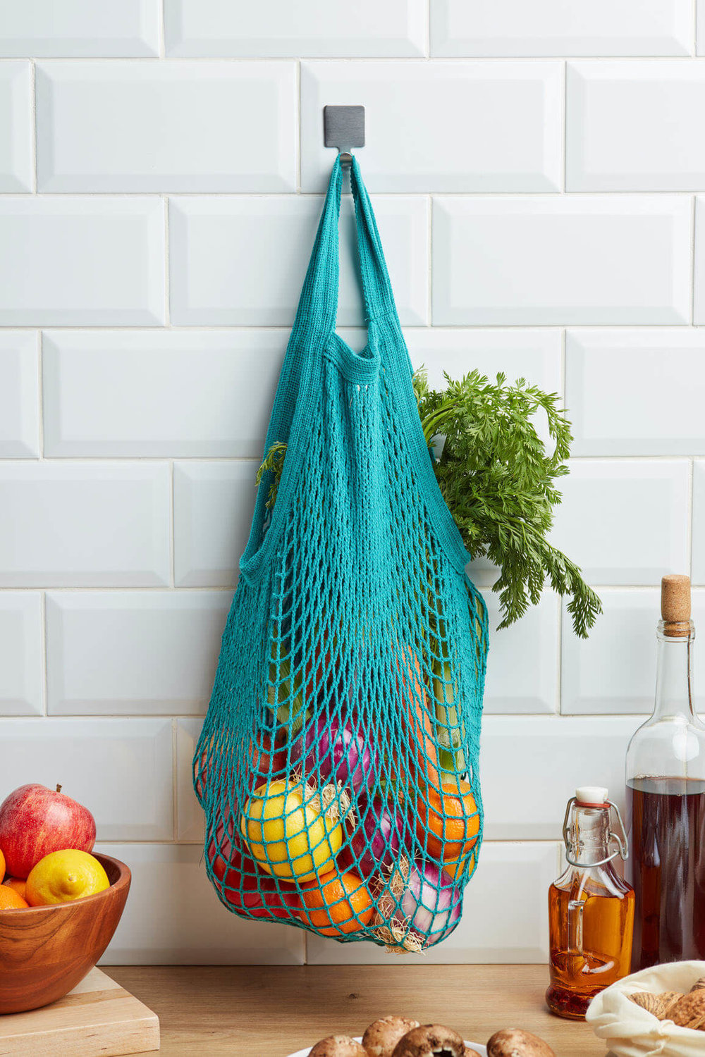 Mesh tote bag for groceries
