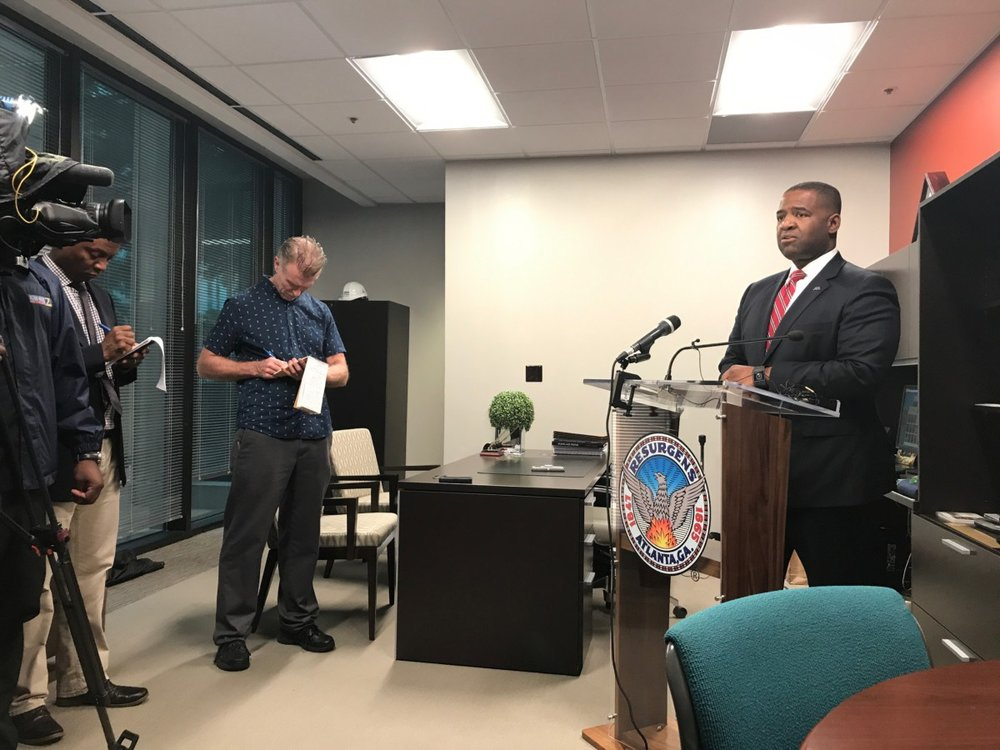 Atlanta City Council President hold press conference in his office on Aug. 31 (Photo by Maria Saporta)