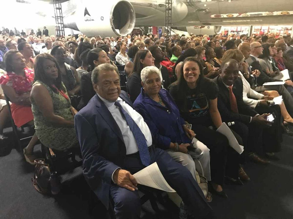 Former Atlanta mayors Andrew Young and Shirley Franklin sit on the front-row with APS Superintendent Meria Carstarphen with 700 people at the Delta Flight Machine in July (Photo by Maria Saporta)