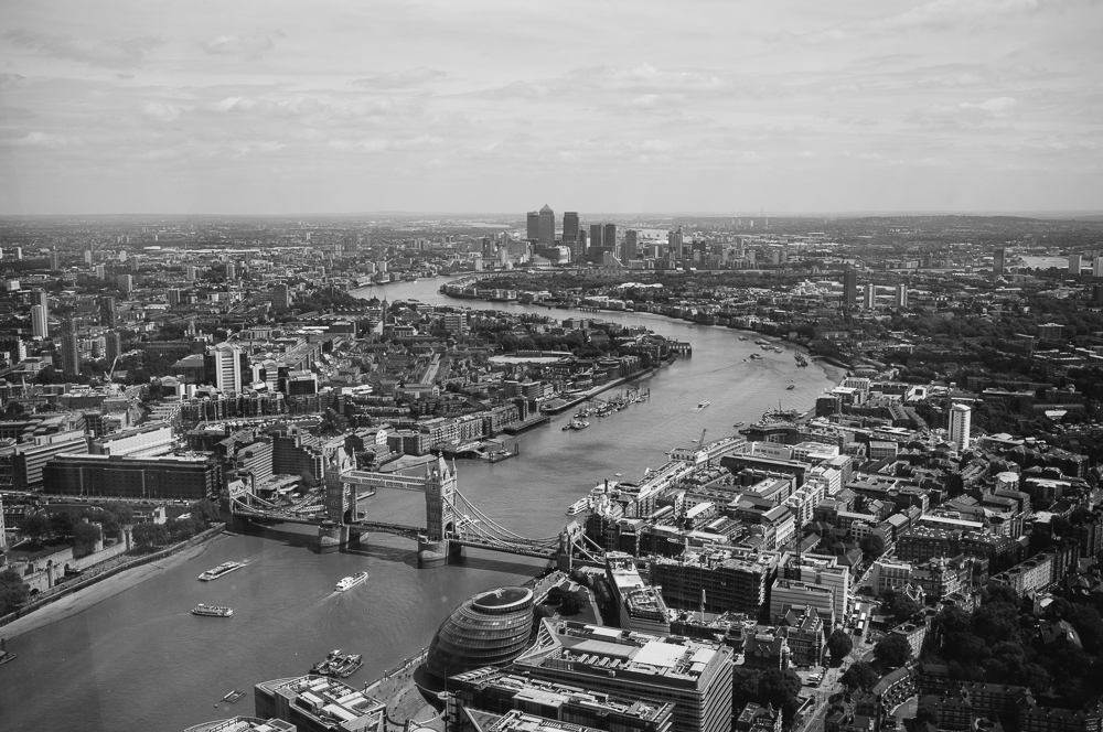 City view down the Thames from the Shard