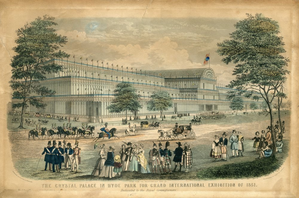 The Crystal Palace as it looked when it stood in Hyde Park in 1851 (Photo public domain).