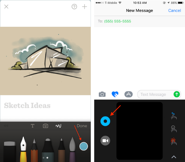Left: Recognizable color chooser icon in  Paper  by FiftyThree; Right: Confusing color chooser icon in Messages.