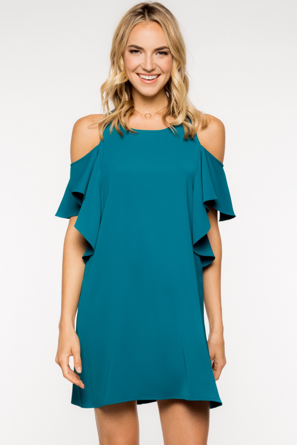 Off the Shoulder Ruffled Shift Dress - Teal