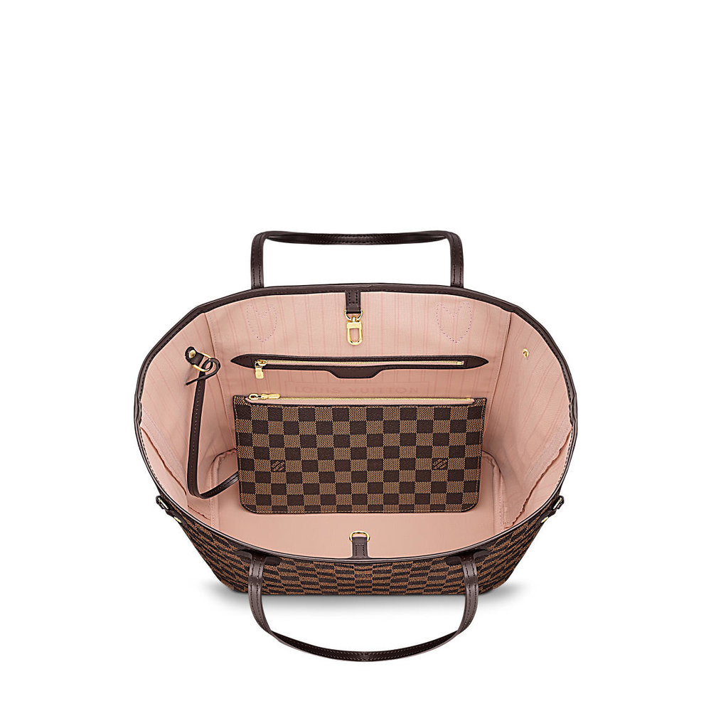 306fd6c2935 Louis Vuitton Neverfull in Damier Ebene with Rose Ballerine lining ...
