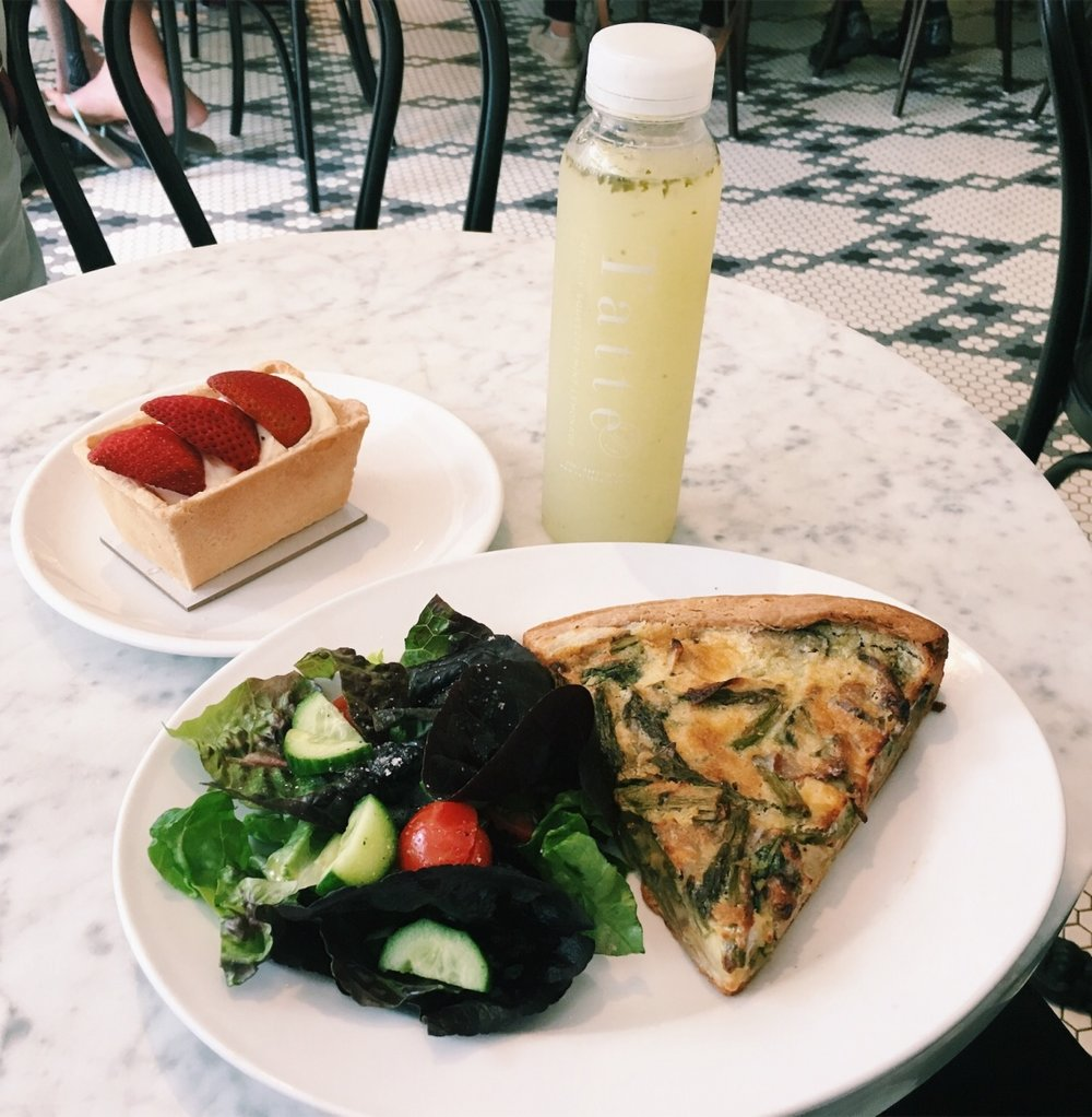TATTE - MINT LEMONADE, ASPARAGUS AND ARTICHOKE QUICHE, STRAWBERRY FRUIT BOX