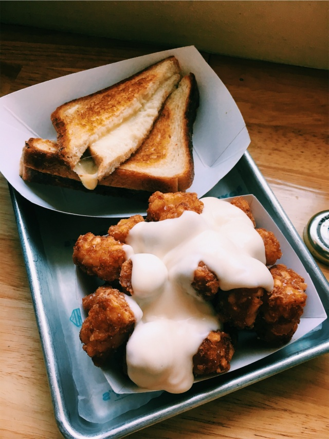 ROXY'S GRILLED CHEESE- TATER TOTS W CHEESE, GRILLED CHEESE WITH VERMONT SHARP CHEDDAR