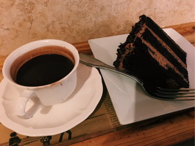 THINKING CUP- FRENCH HOT CHOCOLATE AND A SLICE OF DARK CHOCOLATE CAKE