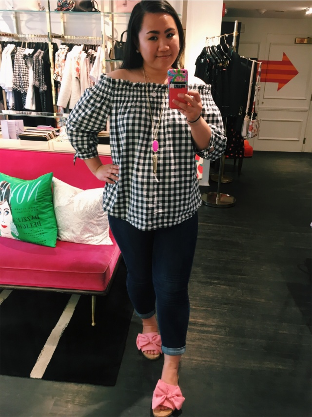 Gingham off the shoulder top (I am wearing a medium in this)
