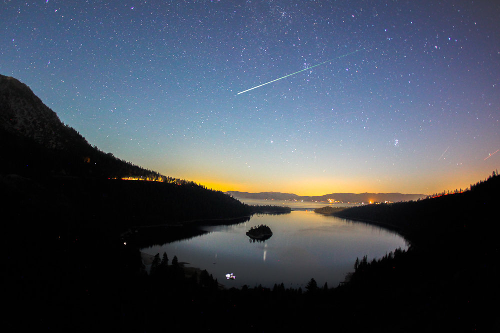 Meteor shower over Emerald Bay, Lake Tahoe California