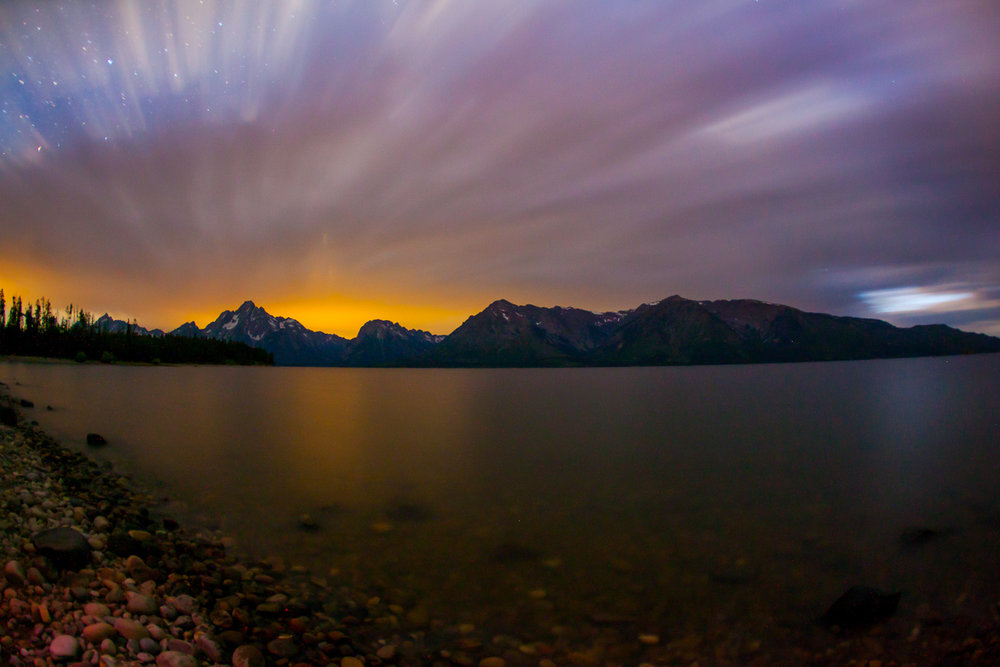 Moving clouds over Jenny Lake, Grand Tetons NP Wyoming