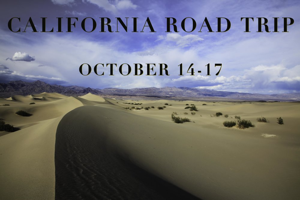 From October 14 – 17th I will be road tripping through California and you're invited!