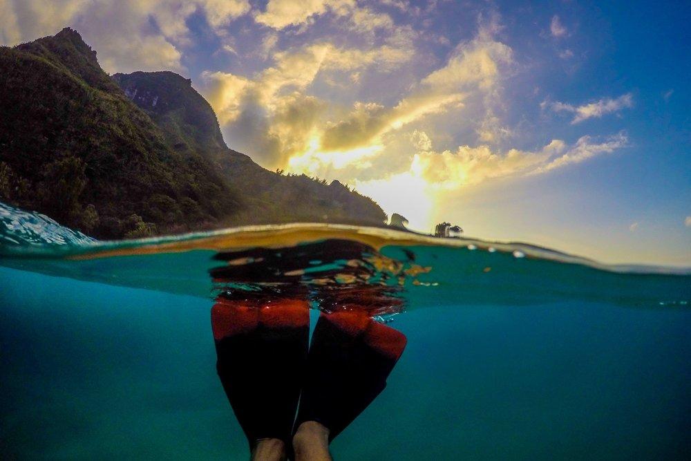 fins at sunset, Hawaii