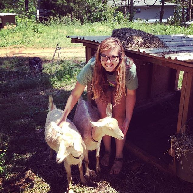 Lisbeth loves seeding in the greenhouse, transplanting, and spending quality time with the goats.