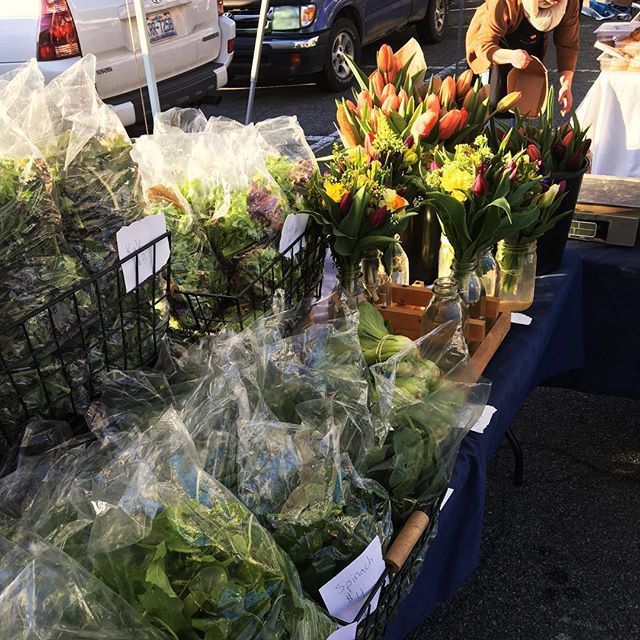 We're at opening day of @chfarmersmarket until 12! Come by to pick up greens, scallions, sweet potatoes, bouquets and tulips!