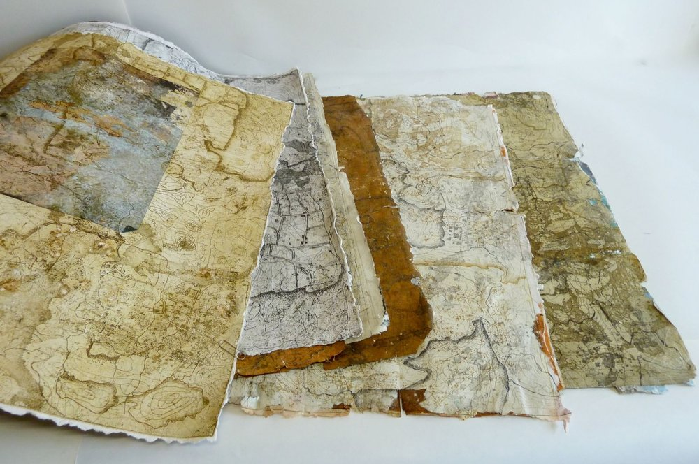 Studio 9    Susan Wright   Printmaker  Susan's work is focused on the transformation or discarded and forgotten books into two and three dimensional prints; these become map like, suggesting imaginary places and new narratives.