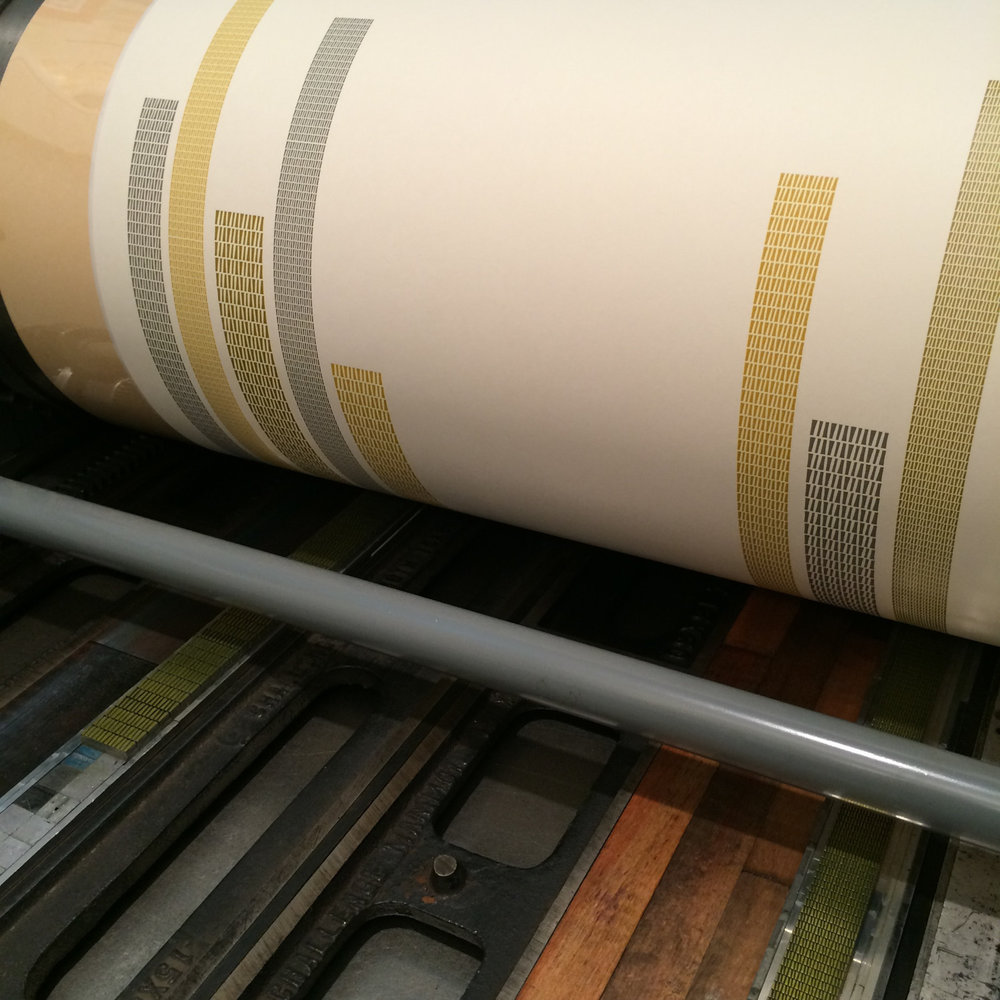Letterpress printing on a printing press