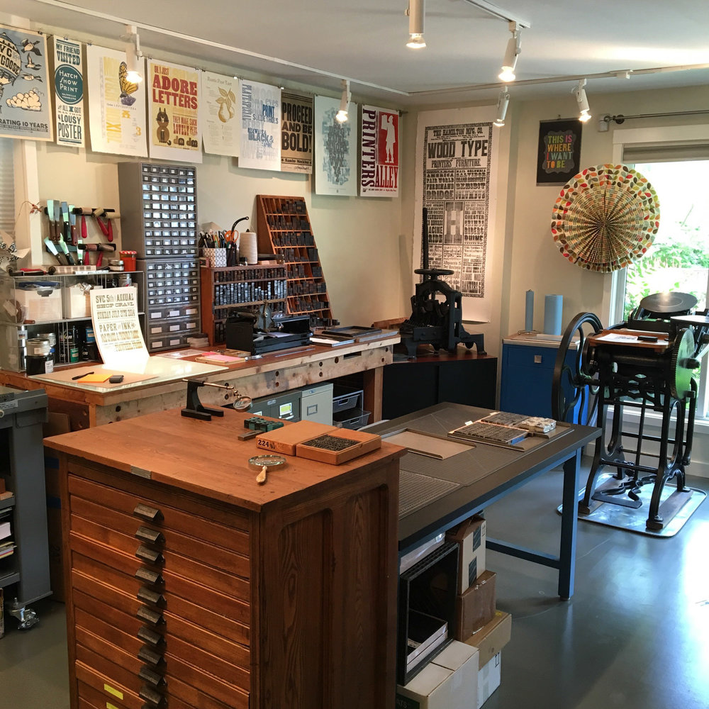 Letterpress printing studio of Pinwheel Press