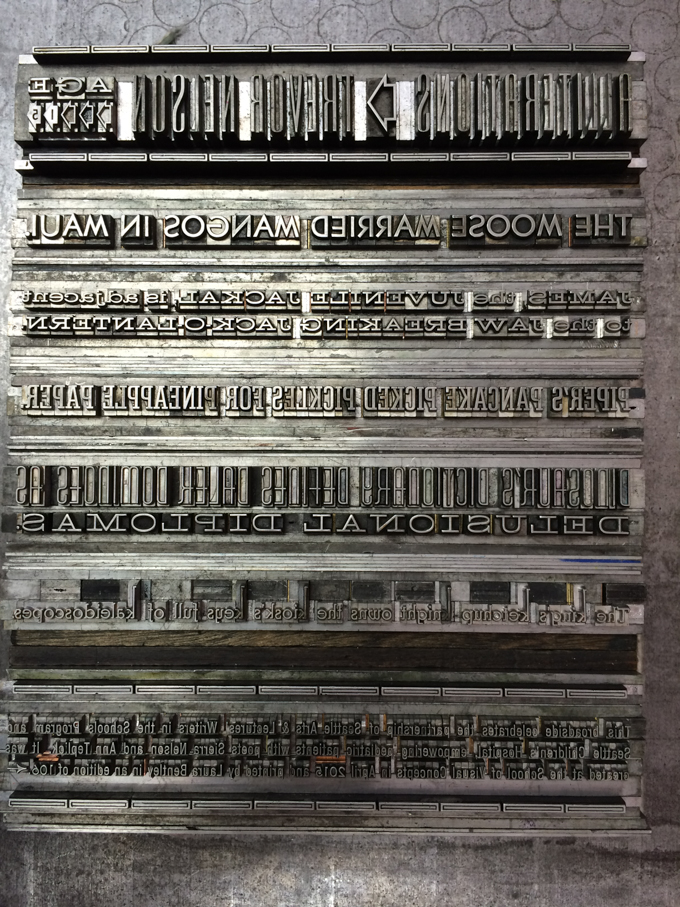 Letterpress metal type of poem