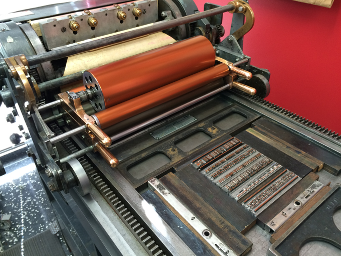 Printing the poem on a printing press